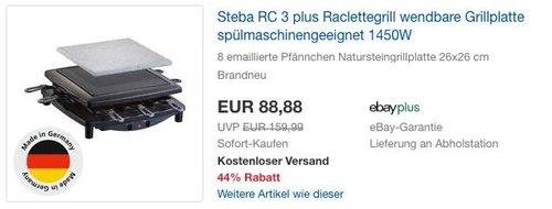 Steba RC 3 Plus Raclettegrill 1450W - jetzt 12% billiger