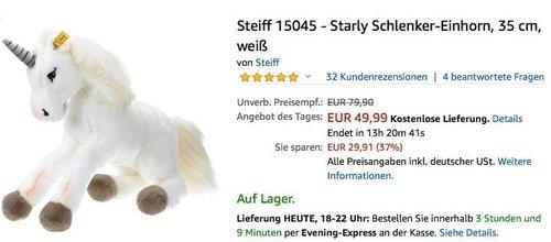 Steiff 15045 - Starly Schlenker-Einhorn - jetzt 18% billiger