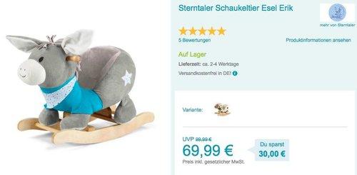 Sterntaler Schaukeltier Esel Erik oder Schaf Stanley - jetzt 12% billiger