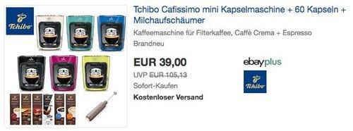 Tchibo Cafissimo mini Kapselmaschine + 60 Kapseln + Milchaufschäumer - jetzt 31% billiger