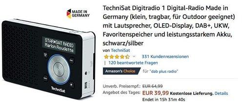 TechniSat Digitradio 1, DAB+ und UKW Digital-Radio - jetzt 31% billiger