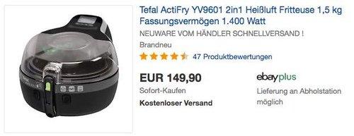 Tefal ActiFry 2in1 YV9601 Heißluft-Fritteuse 1.400 Watt schwarz - jetzt 10% billiger