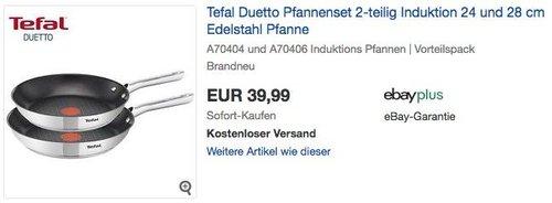 Tefal Duetto Pfannenset 2-teilig 24 und 28 cm - jetzt 25% billiger
