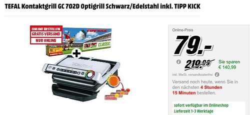 TEFAL Kontaktgrill GC 702D Optigrill Schwarz/Edelstahl inkl. TIPP KICK - jetzt 21% billiger