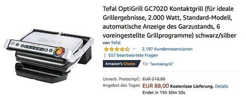 Tefal OptiGrill GC702D Elektro-Kontaktgrill 2.000 Watt - jetzt 11% billiger