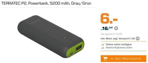 TERRATEC P2 Powerbank 5200 mAh - jetzt 65% billiger