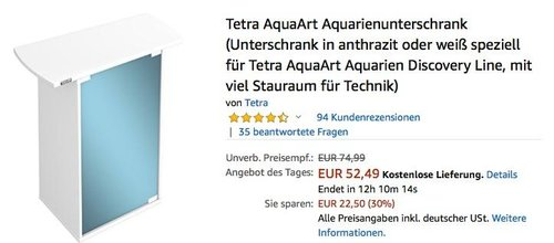 Tetra Aquarienunterschrank in Weiß  für 60 Liter Tetra AquaArt Aquarien - jetzt 17% billiger
