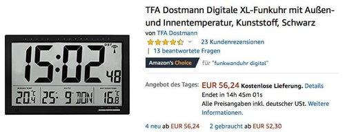 TFA Dostmann Digitale XL-Funkuhr mit Außen-und Innentemperatur (60.4510.01) in Schwarz - jetzt 27% billiger
