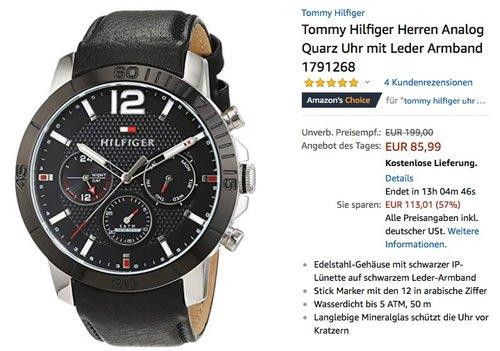 Tommy Hilfiger 1791268 Herren Analog Quarzuhr mit Lederarmband - jetzt 52% billiger