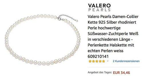 Valero Pearls Damen-Collier 925 Silber 40 cm Kette mit Süßwasser-Zuchtperlen - jetzt 15% billiger