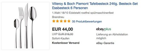 Villeroy & Boch Piemont Tafelbesteck 24tlg. - jetzt 42% billiger