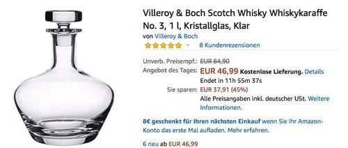 Villeroy & Boch Scotch-/ Whiskykaraffe No. 3, 1 Liter - jetzt 40% billiger