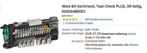 """Wera Bit-Sortiment  Schraubendreher-Set """"Tool-Check PLUS"""", 39-teilig - jetzt 13% billiger"""