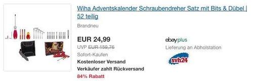 Wiha Adventskalender, Schraubendreher Satz mit Bits & Dübel, 52-teilig - jetzt 15% billiger