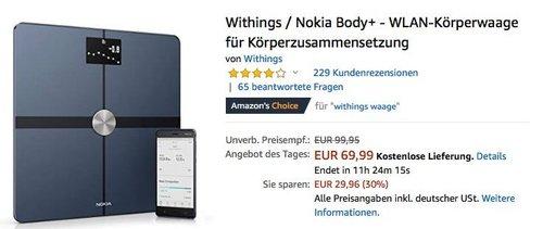 Withings / Nokia Body+ - WLAN-Körperwaage für Körperzusammensetzung - jetzt 23% billiger