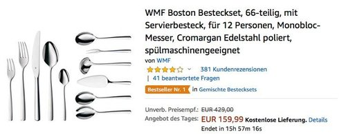 WMF Boston 66-teiliges Besteckset mit Servierbesteck - jetzt 15% billiger