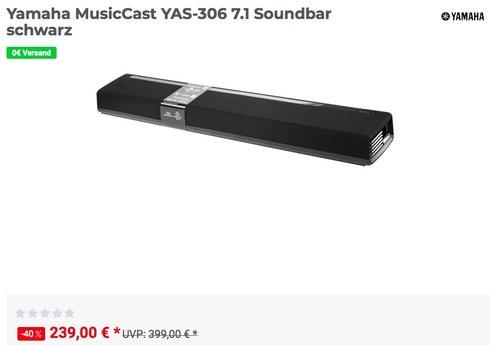 Yamaha MusicCast YAS-306 7.1 Soundbar - jetzt 17% billiger