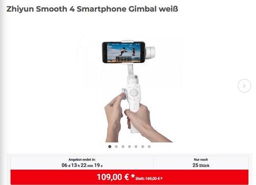 Zhiyun Smooth 4 Smartphone Gimbal in Weiß - jetzt 22% billiger