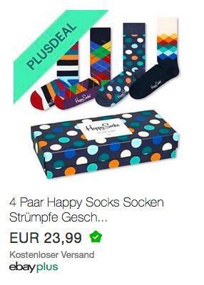 4 Paar Happy Socks Strümpfe Geschenkbox - jetzt 10% billiger