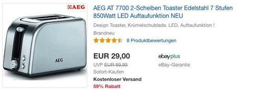 AEG AT 7700 2-Scheiben Toaster, 7 Stufen, 850 Watt - jetzt 27% billiger