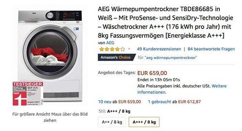 AEG LAVATHERM T8DE86685 Wärmepumpentrockner, A+++ , 8 kg - jetzt 5% billiger