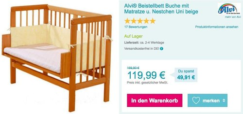 Alvi® Beistellbett Buche mit Matratze und Nestchen - jetzt 14% billiger