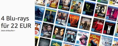 Amazon Aktion: 4 Blu-rays für 22 EUR - jetzt 62% billiger