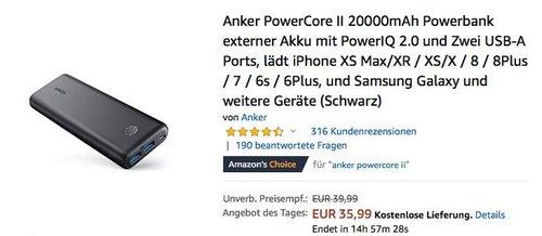 Anker PowerCore II 20000mAh Powerbank - jetzt 18% billiger