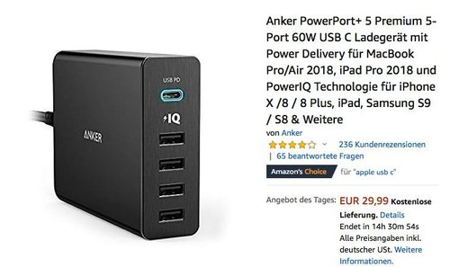 Anker PowerPort+ 5 Premium 5-Port 60W USB-C Ladegerät - jetzt 19% billiger