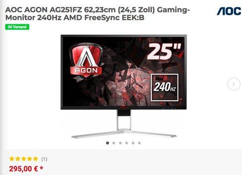 AOC AGON AG251FZ 62,23cm (24,5 Zoll) Gaming-Monitor, 240Hz, AMD FreeSync - jetzt 10% billiger