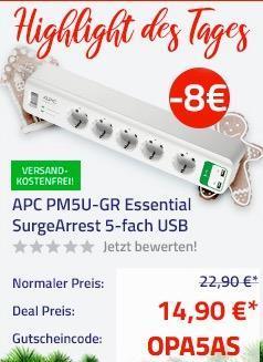 APC PM5U-GR Essential SurgeArrest 5-fach Überspannungsschutz-Steckdosenleiste - jetzt 35% billiger