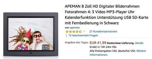 APEMAN 8 Zoll HD Digitaler Bilderrahmen/Fotorahmen mit Fernbedienung (4: 3, Video, MP3-Player, Uhr, Kalenderfunktion) - jetzt 51% billiger