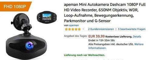 apeman Mini Autokamera Dashcam 1080P Full-HD mit Bewegungserkennung und Parkmonitor - jetzt 26% billiger