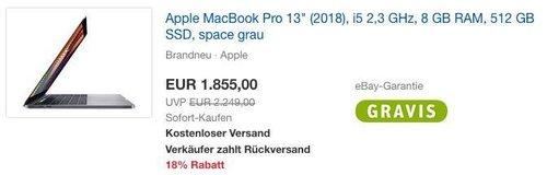 """Apple MacBook Pro 13"""" (2018), i5 2,3 GHz, 8 GB RAM, 512 GB SSD, space grau - jetzt 5% billiger"""