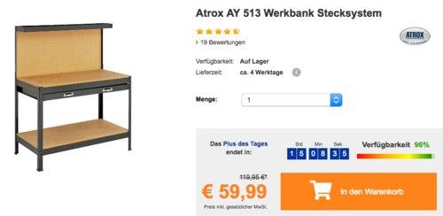 Atrox AY 513 Werkbank mit Stecksystem, 120 x 150 x 60 cm - jetzt 21% billiger