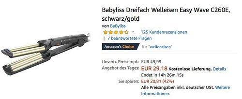 Babyliss Dreifach Welleisen Easy Wave C260E - jetzt 21% billiger