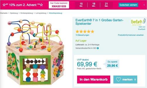 Babymarkt.de - 10% Rabatt auf fast alles am 09.12.18: z.B. EverEarth® 7 in 1 Großes Garten-Spielcenter - jetzt 10% billiger