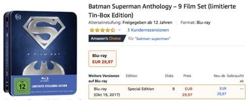 Batman Superman Anthology – 9 Blu-ray Film Set (limitierte Tin-Box Edition) - jetzt 48% billiger