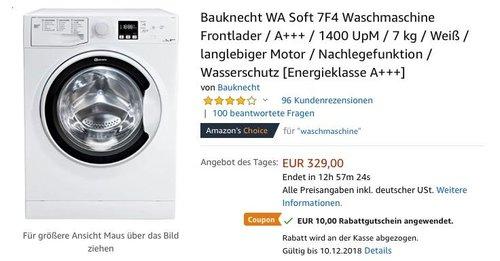 Bauknecht WA Soft 7F4 Waschmaschine,  A+++, 1400 UpM, 7 kg - jetzt 11% billiger