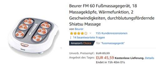 Beurer FM 60 Fußmassagegerät, Shiatsu Massage - jetzt 24% billiger