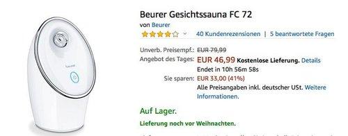 Beurer Gesichtssauna FC 72 - jetzt 26% billiger