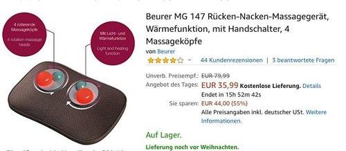 Beurer MG 147 Rücken-Nacken-Massagegerät - jetzt 20% billiger
