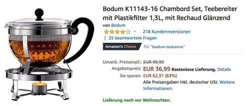 Bodum K11143-16 Chambord Set, Teebereiter mit Plastikfilter 1,3L mit Rechaud - jetzt 17% billiger