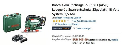 Bosch Akku-Stichsäge PST 18 LI inkl. Akku, Ladegerät und Koffer - jetzt 35% billiger