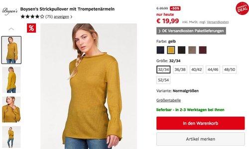 Boysen's Damen Strickpullover mit Trompetenärmeln - jetzt 44% billiger