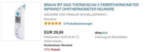 Braun IRT6020 ThermoScan 5 Infrarot Ohrthermometer - jetzt 17% billiger