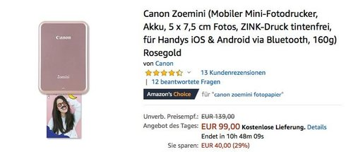Canon Zoemini Mobiler Mini-Fotodrucker für iOS & Android - jetzt 23% billiger