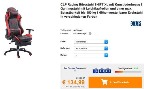 CLP Racing Bürostuhl SHIFT XL mit Kunstlederbezug und Fußstütze - jetzt 10% billiger