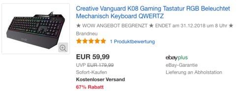 Creative Vanguard K08 mechanische Gaming Tastatur mit RGB-Beleuchtung - jetzt 14% billiger