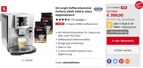 De'Longhi Perfecta ESAM 5400 Kaffeevollautomat inkl. 2 Pakete KIMBO Kaffeebohnen - jetzt 13% billiger